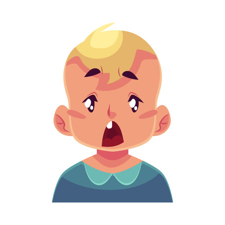 Petit visage de garçon, l'expression du visage surpris, vecteur dessin animé illustrations isolé sur fond blanc. Blond kid emoji mâle surpris, choqué, surpris, étonné. expression du visage Surpris