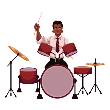 Handsome African male drummer playing drums, cartoon vector illustration isolated on white background. Front view of black man in white shirt and tie playing drums