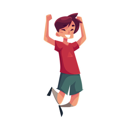 excitement: Cheerful little boy jumping from happiness, cartoon vector illustrations isolated on white background. Happy brown haired boy in shorts and t-shirt jumping in excitement