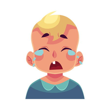 Little boy face, crying facial expression, cartoon vector illustrations isolated on white background. Blond male kid emoji face crying, shedding tears, sad, heart broken, in grief. Иллюстрация