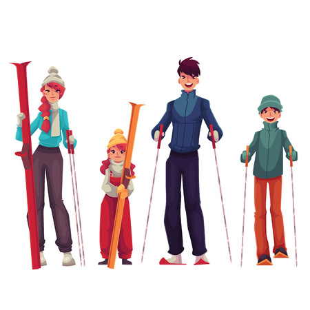 Full length family portrait of father, mother, daughter and son with ski, cartoon vector illustration isolated on white background. Cheerful family in winter clothes with ski and ski poles Illustration