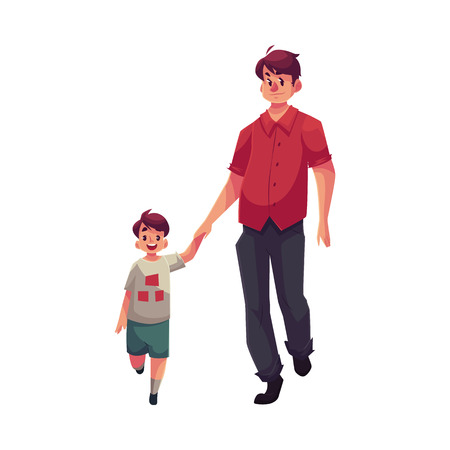 Father and son walking together, cartoon vector illustrations isolated on white background. Young handsome dad holding his little son hand and walking together, happy family concept Illustration