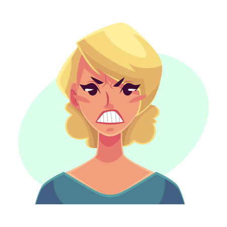 Pretty blond woman, angry facial expression, cartoon vector illustrations isolated on blue background. Beautiful woman frowns, feeling distresses, frustrated, sullen, upset. Angry face expression