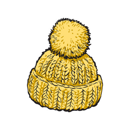Bright yellow winter knitted hat with pompon, sketch style vector illustrations isolated on white background. Hand drawn woolen hat with a big fluffy pompom, winter accessory