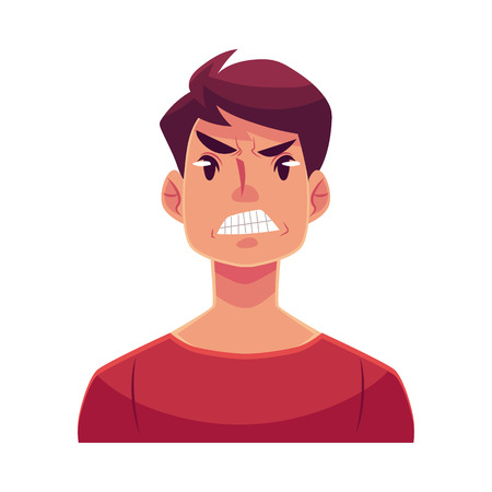 frowns: Young man face, angry facial expression, cartoon vector illustrations isolated on white background. Handsome boy frowns, feeling distresses, frustrated, sullen, upset. Angry face expression Illustration