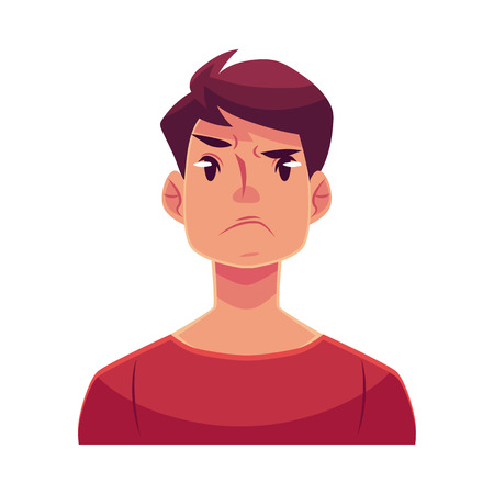 Young man face, angry facial expression, cartoon vector illustrations isolated on white background. Handsome boy emoji, feeling distressed, frustrated, sullen, upset. Angry face expression