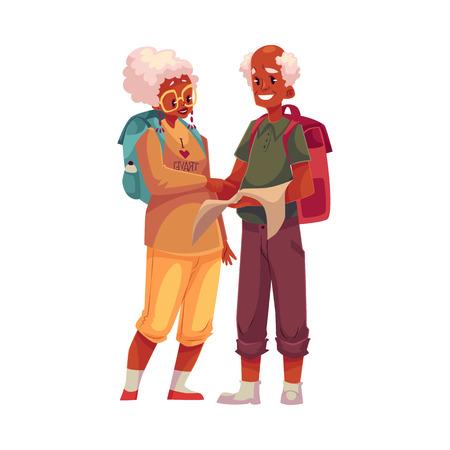 Senior, oud zwart paar reist met rugzakken, cartoon vector illustratie op een witte achtergrond. Volledige hoogte portret van African American oudere reizigers op zoek naar de kaart
