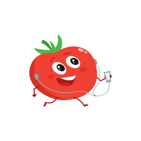 Ripe red running tomato with music player and earphones, cartoon vector illustration isolated on white background. Cute and happy tomato character doing sport, fitness motivation for kids Illustration