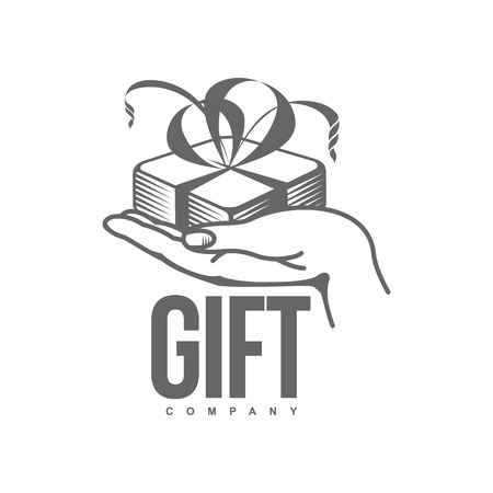 black and white graphic line art gift box templates, vector illustration isolated on white background. Gif box with ribbon and bow, hand offering a gift, giving a present Stock Vector - 64765216