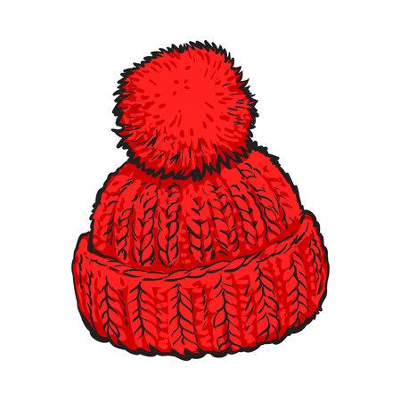 Helle rote Wintermütze mit Bommel gestrickt, Illustrationen Skizze Stil Vektor isoliert auf weißem Hintergrund. Hand gezeichnet Wollmütze mit einem großen flaumigen Pompon, Winter-Zubehör