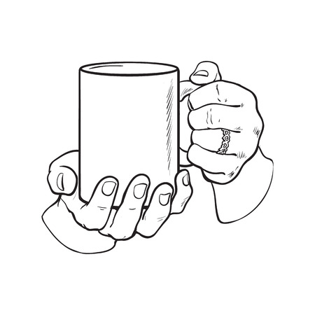 well groomed female hand holding a cup with tea or coffee, sketch style vector illustration isolated on white background. Realistic drawing of beautiful hand holding a mug with a hot beverage Stock fotó - 64765231