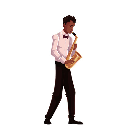 Young African American male saxophone player, cartoon vector illustration isolated on white background. Full height portrait of black man in white shirt and bow playing saxophone