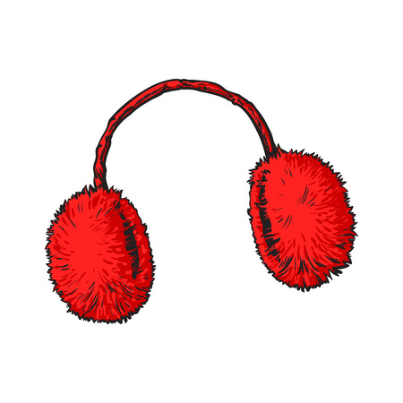 Bright red fluffy fur ear muffs, sketch style vector illustrations isolated on white background. Hand drawn fluffy ear warmers, ear muffs made of fur, winter accessory