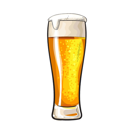 ale: High glass of cold beer with foam and bubbles, sketch style vector illustration isolated on white background. Hand drawn frosty glass of ice cold golden beer, lager, ale, Oktoberfest symbol
