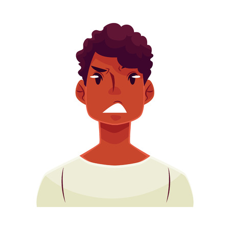 concerned: Young african man face, upset, confused facial expression, cartoon vector illustrations isolated on white background. Handsome boy feeling upset, concerned, confused frustrated.
