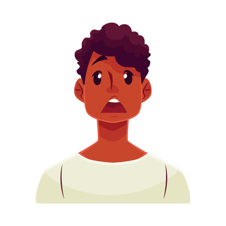 astonishment: Young african man face, surprised facial expression, cartoon vector illustrations isolated on white background. Handsome boy emoji surprised, shocked, amazed, astonished. Surprised face expression