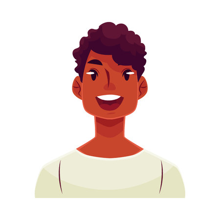 Young african man face, wow facial expression, cartoon vector illustrations isolated on white background. Handsome boy emoji surprised, amazed, astonished. Surprised, wow face expression Illustration