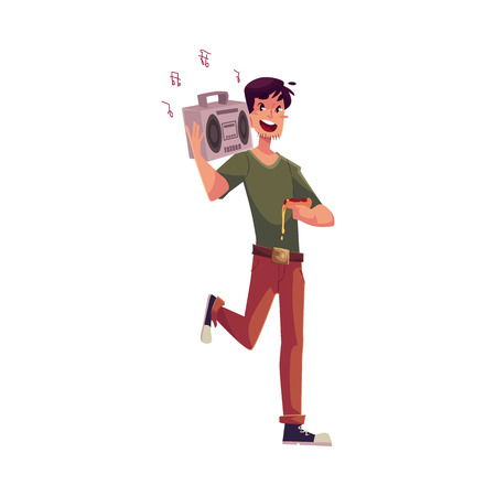 tape recorder: Young man dancing at the party with tape recorder on his shoulder and pizza in hand, cartoon vector illustration isolated on white background. Young woman having much fun at the party