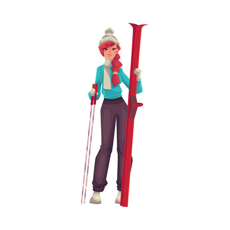 leisure time: Adult red-haired beautiful woman standing with ski, cartoon vector illustration isolated on white background. Full height portrait of pretty female skier, fun winter activity, outdoor leisure time Illustration