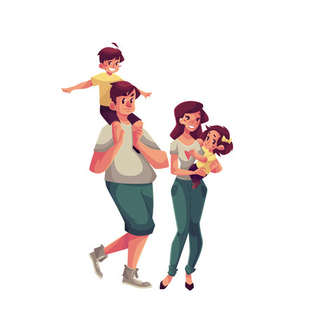 father and son holding hands: Father, mother, daughter and son, cartoon vector illustrations isolated on white background. Dad carrying his little son on his shoulders and mom holding daughter in her hands, happy family concept