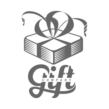 gift giving: black and white graphic line art gift box templates, vector illustration isolated on white background. Gif box with ribbon and bow, hand offering a gift, giving a present Illustration