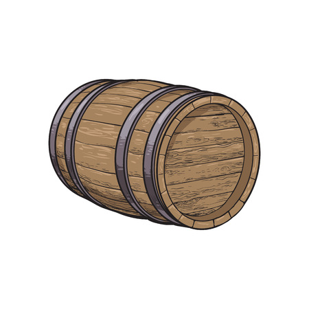 Side view of lying wooden barrel, sketch style vector illustrations isolated on white background. Wine, rum, beer classical wooden barrel, hand-drawn vector illustration, side view Vectores