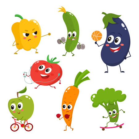 Set of vegetables doing sport - bell pepper, cucumber, eggplant, tomato, apple, carrot, broccoli, cartoon vector illustration isolated on white background. Cute and focused vegetable characters Vectores