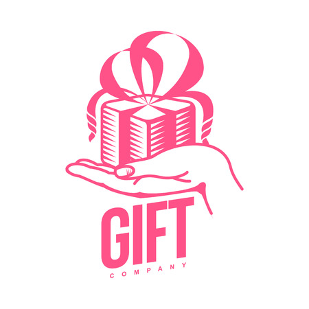 gift giving: pink and white graphic line art gift box templates, vector illustration isolated on white background. Gif box with ribbon and bow, hand offering gift, giving present