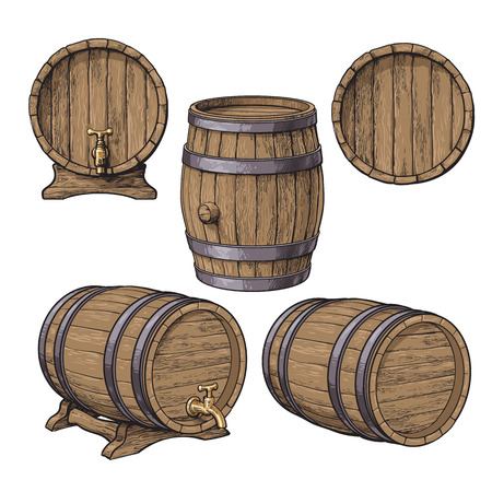 Set of wooden barrels, sketch style vector illustrations isolated on white background. Collection of standing and lying wine, rum, beer classical wooden barrels Illustration