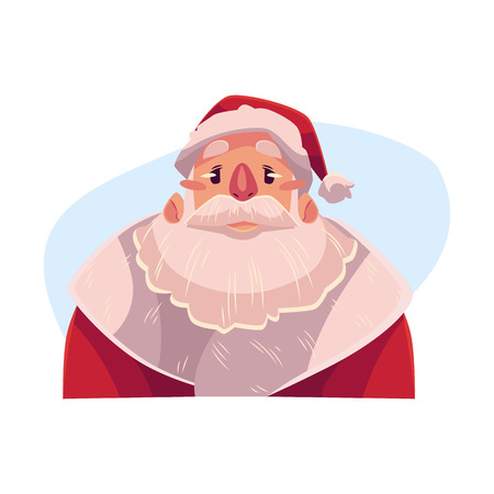 Santa Claus upset, confused facial expression, cartoon vector illustrations isolated on blue background. Santa Claus emoji face icons, feeling distressed, frustrated, sullen. Angry face expression