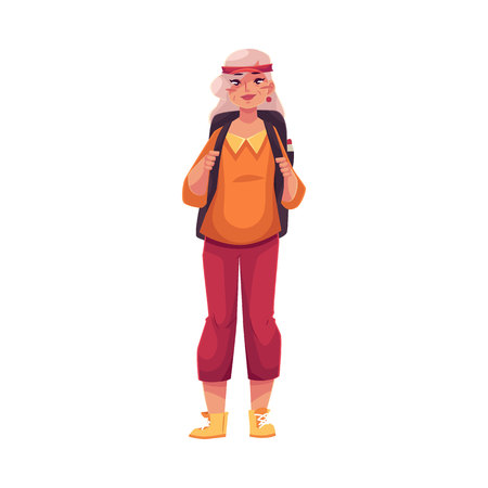 knickers: Senior, old grey-haired woman travelling with a backpack, cartoon vector illustration isolated on white background. Full height portrait of elder hippie woman wearing hair band and knickers