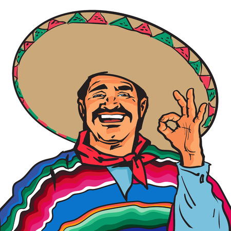 okey: Half length portrait of smiling Mexican man in sombrero and poncho showing okey sign, sketch vector illustration isolated on white background. Colorful drawing of Mexican man in traditional clothes