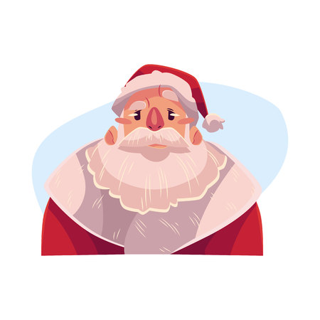 Santa Claus face, angry facial expression, cartoon vector illustrations isolated on blue background. Santa Claus emoji face icons, feeling distressed, frustrated, sullen, upset. Angry face expression