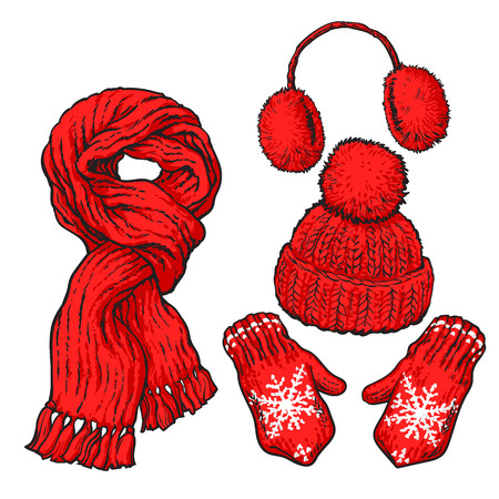 Set of bright red knotted scarf, hat, ear muffs and mittens, sketch style vector illustrations isolated on white background. Hand drawn woolen scarf, hat with a pompom, mittens and ear warmers Illustration