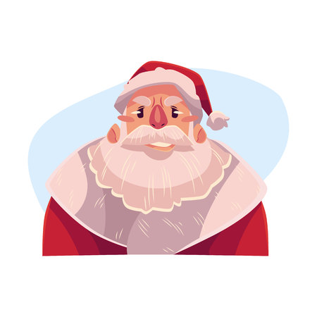 concerned: Santa Claus face, upset, confused facial expression, cartoon vector illustrations isolated on blue background. Santa Claus feeling upset, concerned, confused frustrated. Illustration