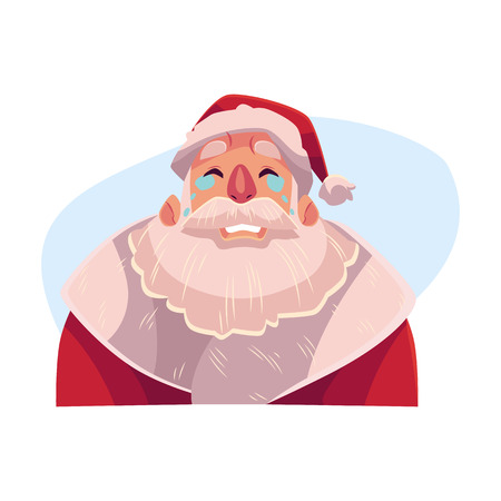 Santa Claus face , crying facial expression, cartoon vector illustrations isolated on blue background. Santa Claus emoji crying, shedding tears, sad, heart broken, in grief.