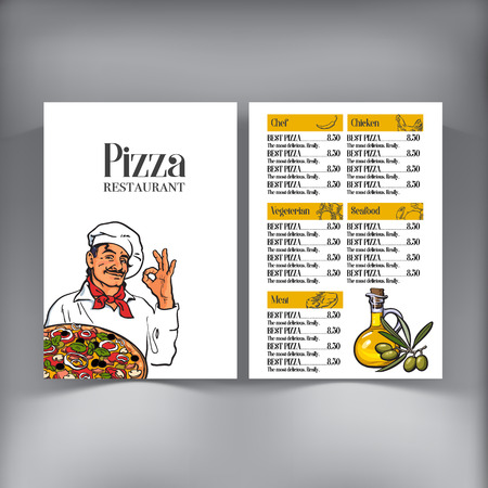 freshly baked: Italian chef pizza menu design, vector template with sketch style illustrations. Pizza cafe, restaurant menu design with Italian chef serving freshly baked pizza, and olive oil