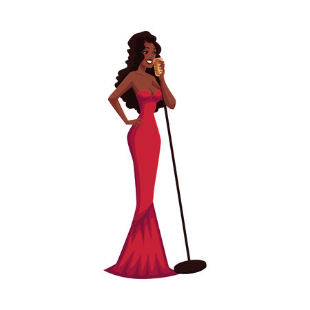 Glamorous African American female singer, cartoon vector illustration isolated on white background. Full height portrait of posh black woman in red evening dress singing to a microphone Illustration