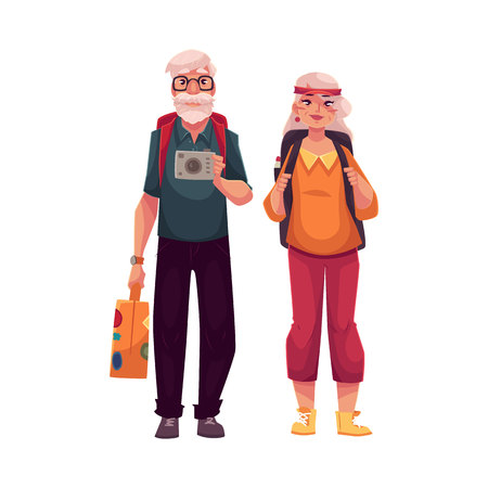 Senior, old couple travelling with backpacks, suitcase and camera, cartoon vector illustration isolated on white background. Full height portrait of elder hippie couple on a trip, travelling together