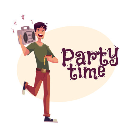 tape recorder: Young man dancing at the party with tape recorder on his shoulder and pizza in hand, cartoon vector illustration. Greeting card, poster, banner design for birthday party with a man popping party