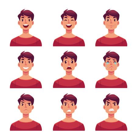 Jongeman gezicht meningsuiting, set van cartoon vector illustraties op een witte achtergrond. Knappe jongen emoji gezicht iconen, menselijke uitdrukkingen van de mannelijke avatars met verschillende emoties Vector Illustratie