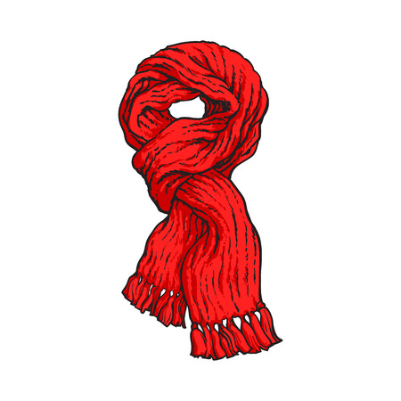 knotted: Bright red slip knotted winter knitted scarf with tassels, sketch style vector illustrations isolated on white background. Hand drawn fluffy woolen scarf tied in slip knot, winter accessory Illustration