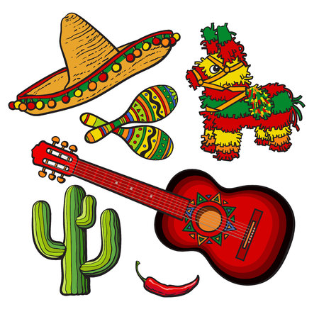 Mexican set - sombrero, pinata, maraca, tequila cactus, chili and spanish guitar, sketch vector illustration isolated on white background. Mexican sombrero, rumba shakers, ornamented pinata, cactus