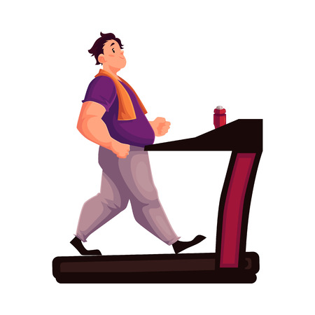 potbelly: Fat man walking on the treadmill, cartoon vector illustration isolated on white background. Obese, fat, chubby man trying to get fit by walking on the treadmill, cardio exercises
