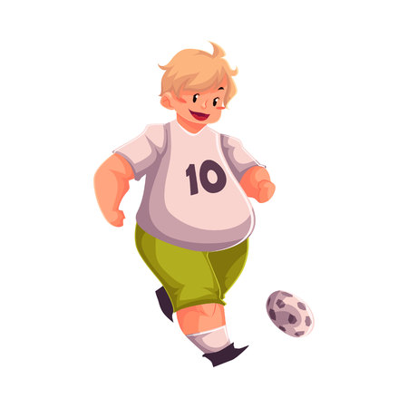 potbelly: Fat boy playing football, cartoon vector illustration isolated on white background. Obese, fat, chubby kid playing football, doing sport, getting fit, active lifestyle