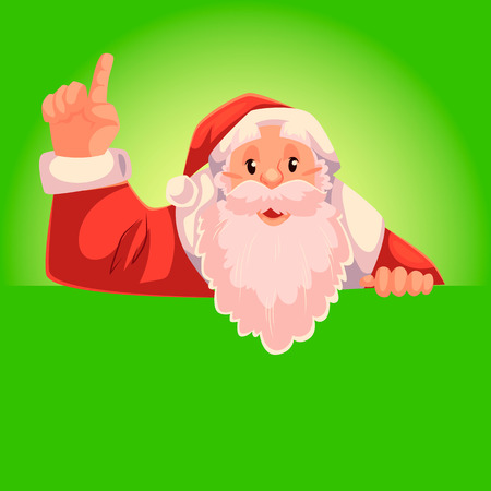 Santa Claus pointing up with place for text below, cartoon style vector illustration on green background. Half length portrait of Santa drawing attention to text below and pointing up