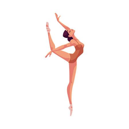 zapatillas ballet: hermosa bailarina joven en medias y zapatillas de ballet, ilustración de dibujos animados aislado en el fondo blanco. Joven bailarina de ballet agraciado con medias y zapatillas de ballet