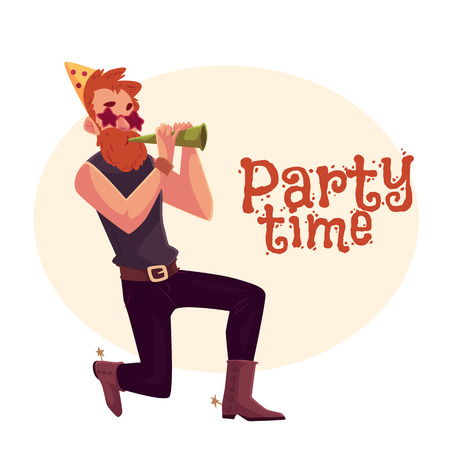 Young hipster in star glasses and cowboy boots standing on one knee and blowing into birthday horn, cartoon vector illustration isolated. Greeting card, poster, banner design for birthday party Illustration