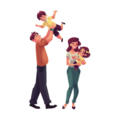hands in: Father, mother, daughter and son, cartoon vector illustrations isolated on white background. Dad throwing his little son up and mom holding daughter in her hands, happy family concept Illustration