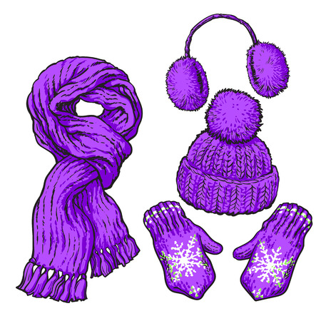 ear muffs: Set of bright purple knotted scarf, hat, ear muffs and mittens, sketch style vector illustrations isolated on white background. Hand drawn woolen scarf, hat with a pompom, mittens and ear warmers